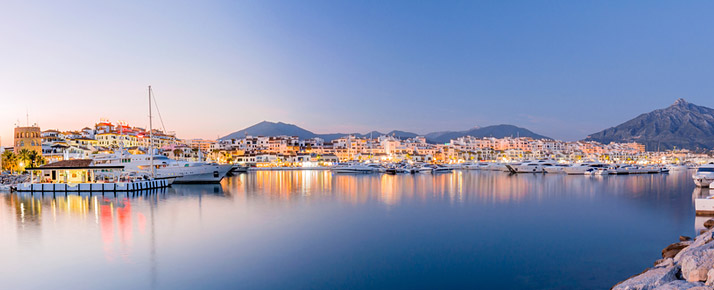 Illuminated harbour of Marbella