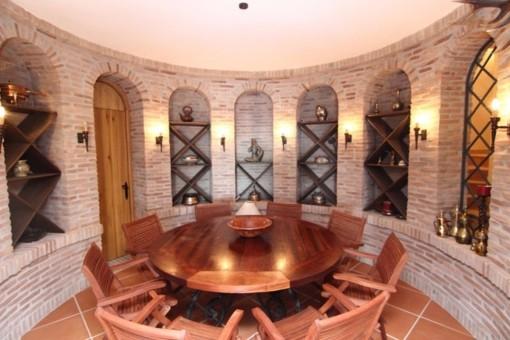 The stylish wine cellar
