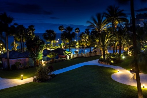 The great outdoor-area of the residential complex at night