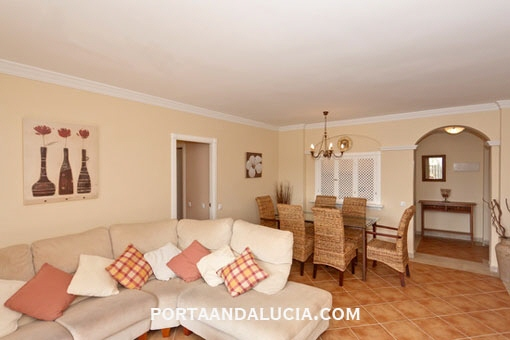 The stylish living and dining-room