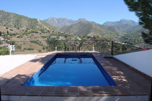 Pool area with marvellous mountain views
