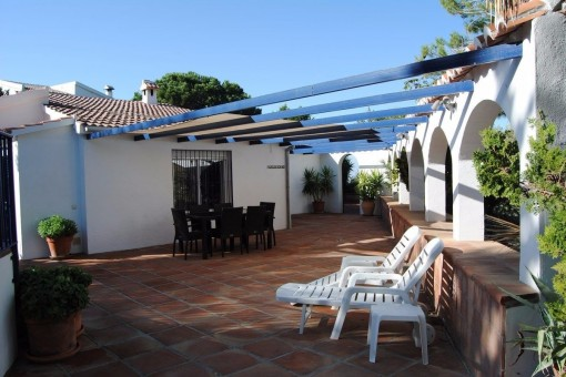 One of the spacious sunny terraces