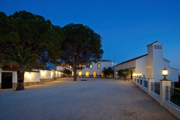 The manorial property with magnificent lightning at night