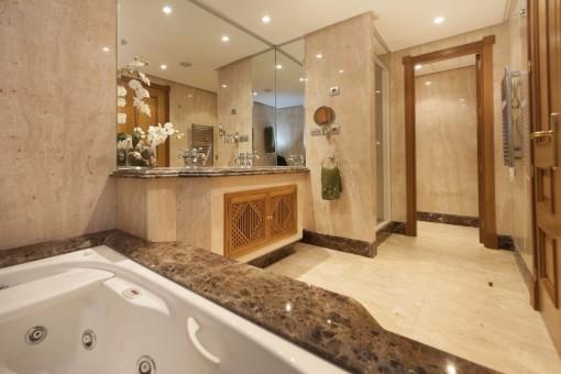The elegant bathroom with Jacuzzi