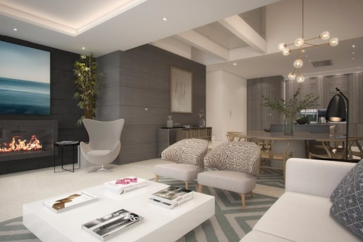 The bright living room