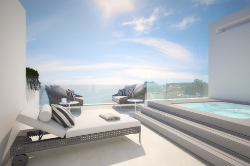 The panoramic terrace with whirlpool