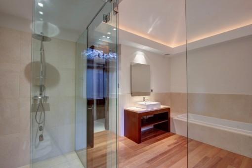 The bathroom and gym