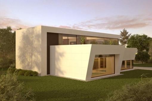The facade of the luxurious new built villa