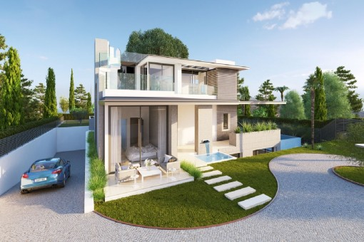 Front views of the luxurious villa