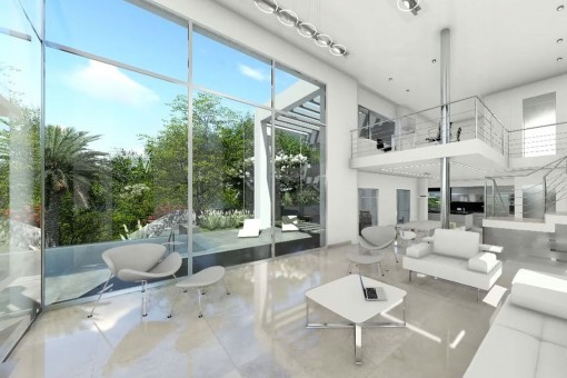 Open plan modern design with double hight ceilings