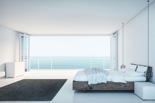 Bright and spacious guest bedroom with views