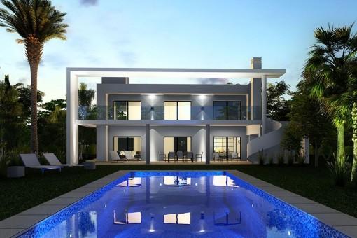 Mediterranische Villa nachts