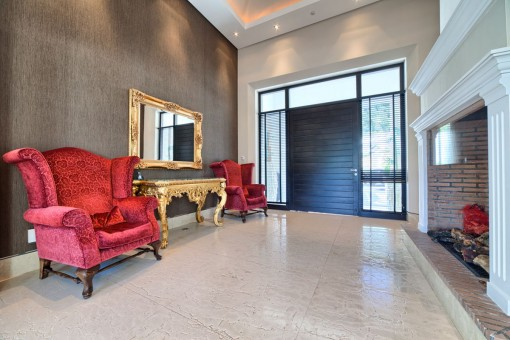 Hallway with fireplace