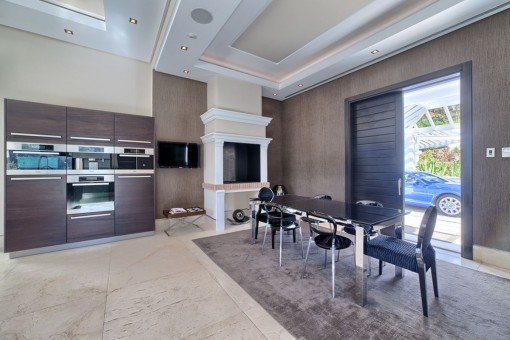 Dining area with fireplace
