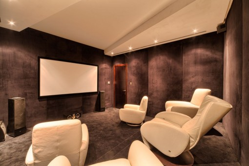 Home cinema with designer armchairs