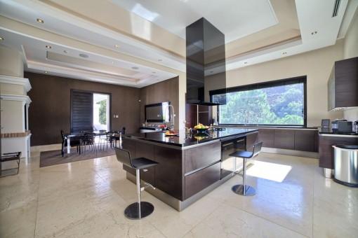 Stylish open concept kitchen