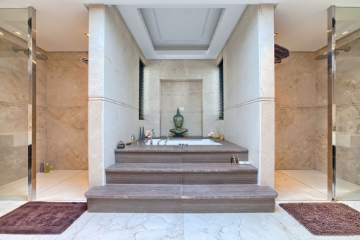 Master bathroom with 2 showers and a bathtub