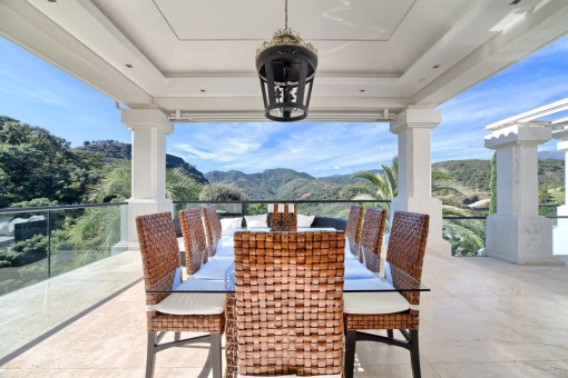 Outdoor dining area with fabulous mountain views