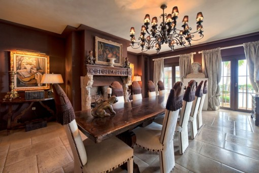 Breath-taking dining area with fireplace
