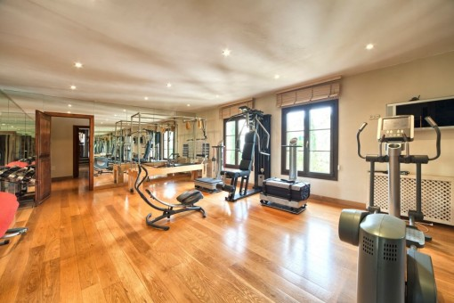 Spacious fitness studio with a lot of fitness machines