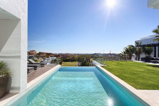 Pool area with views to the mediterranean sea