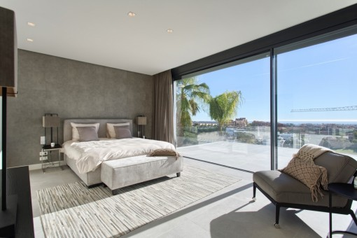 Charming master bedroom with panoramic views