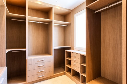 The dressing room with cabinets
