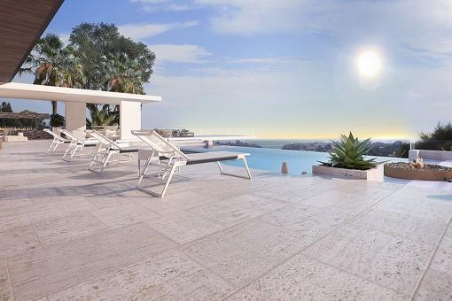 Generous terrace with sea views