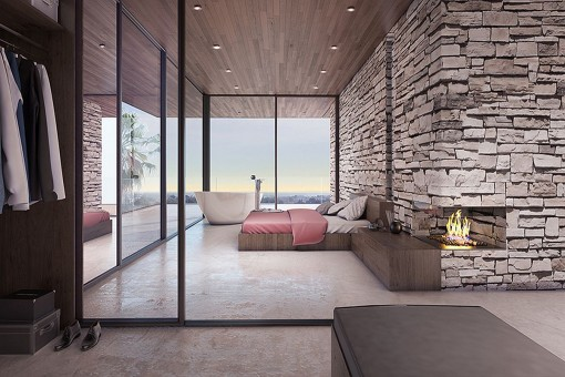 Master bedroom offers a bathtub with natural stone wall