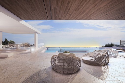 Bright lounge area with sea views