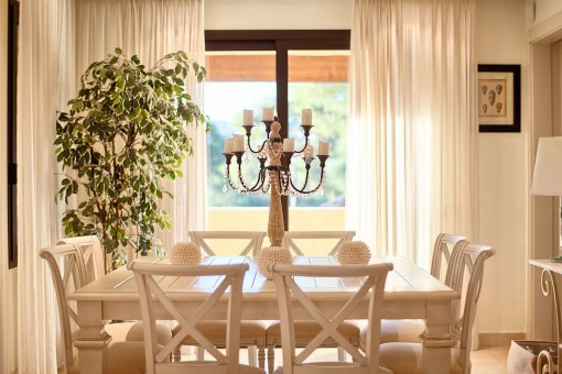 Dining area with chandelier