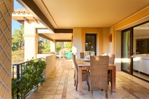 Terrace area with garden furniture