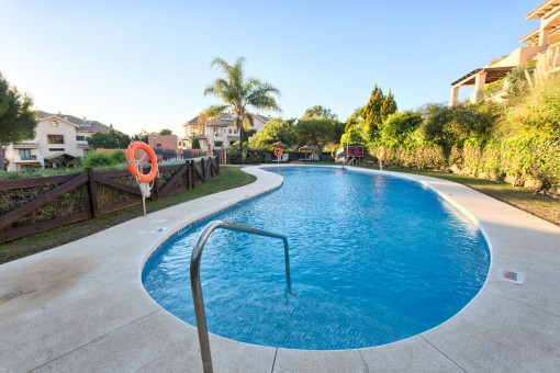 Views of the pool area with garden