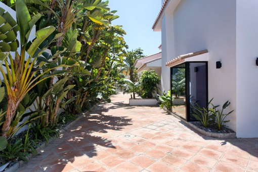 The villa offers a promenade with many plants