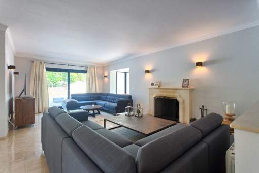 The living area offers a fireplace