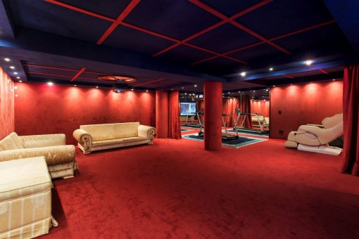 Large cinema room with red carpet