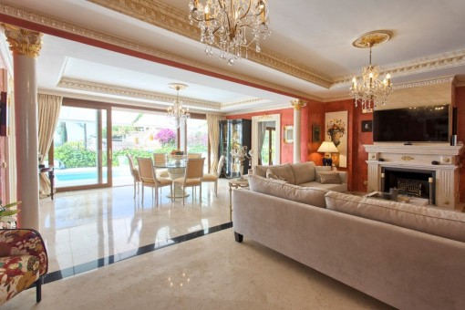 Spacious dining area with views of the pool area