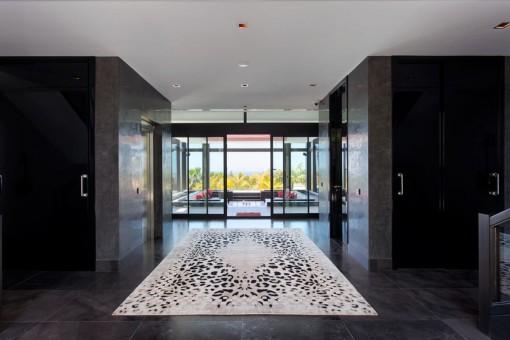 Fantastic hallway with a design carpet