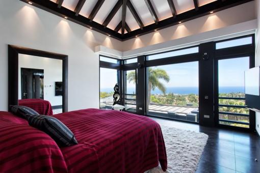 Master bedroom en suite with wooden beams