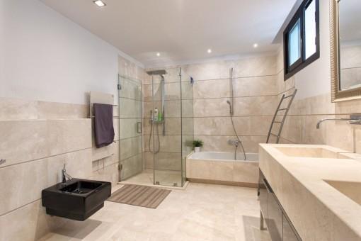 Beautiful bathroom with shower and bathtub