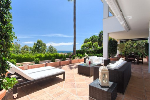 Terrace with sunbed