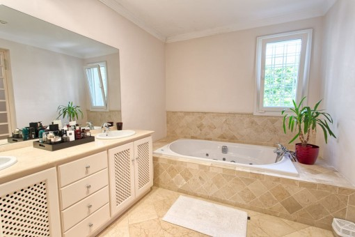 Bathroom with marble elements