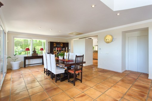 Views of the dining area with wine rack