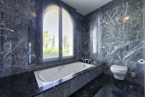 Modern bathroom with marble in grey
