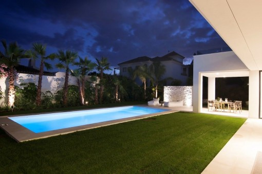 Warm, indirect lights decorate the property