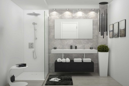 Modern bathroom with rain shower