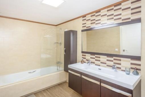 Stylish bathroom with bathtub
