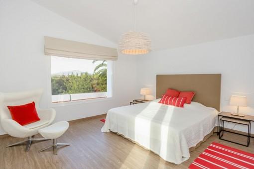 Charming bedroom with panorama window