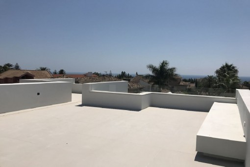 Roof terrace with panoramic sea views