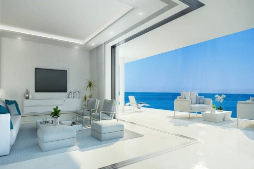 Puristic living area with sea view